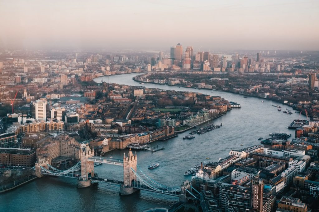 Aerial view of the river Thames above Tower Bridge looking east