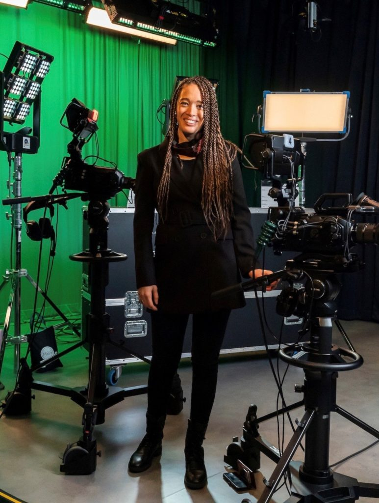 Lisa Dee stands smiling in studio in East London, soon to be UK's centre of film making