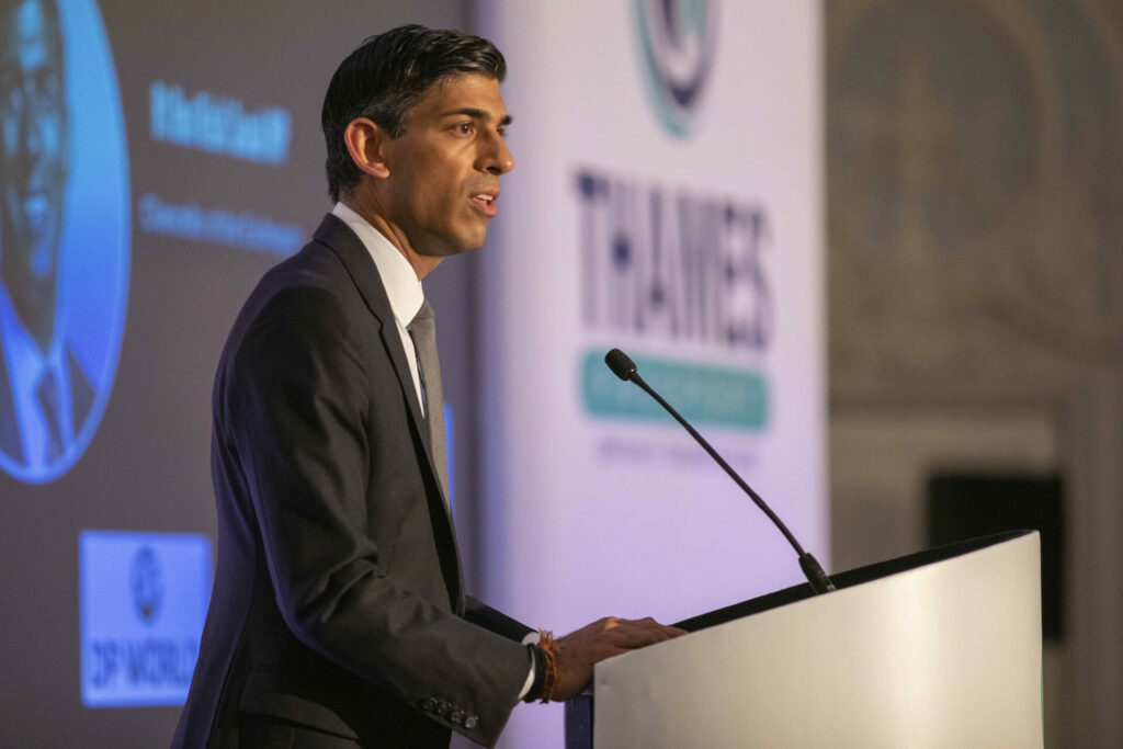 Rishi Sunak, Chancellor of the Exchequer, speaking at the launch of the Thames Freeport in East London